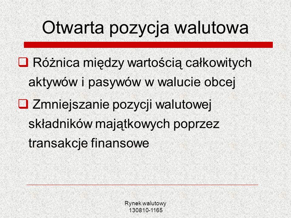 Rynek walutowy 130810-1165 Technika osłony otwartej pozycji walutowej w bilansie firmy Szeroki wachlarz technik Koszty vs.