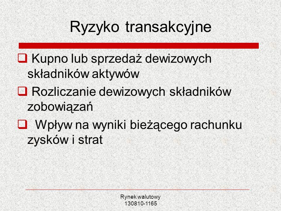Rynek walutowy 130810-1165 Ryzyko transakcyjne Kupno lub sprzedaż dewizowych składników aktywów Rozliczanie dewizowych składników zobowiązań Wpływ na