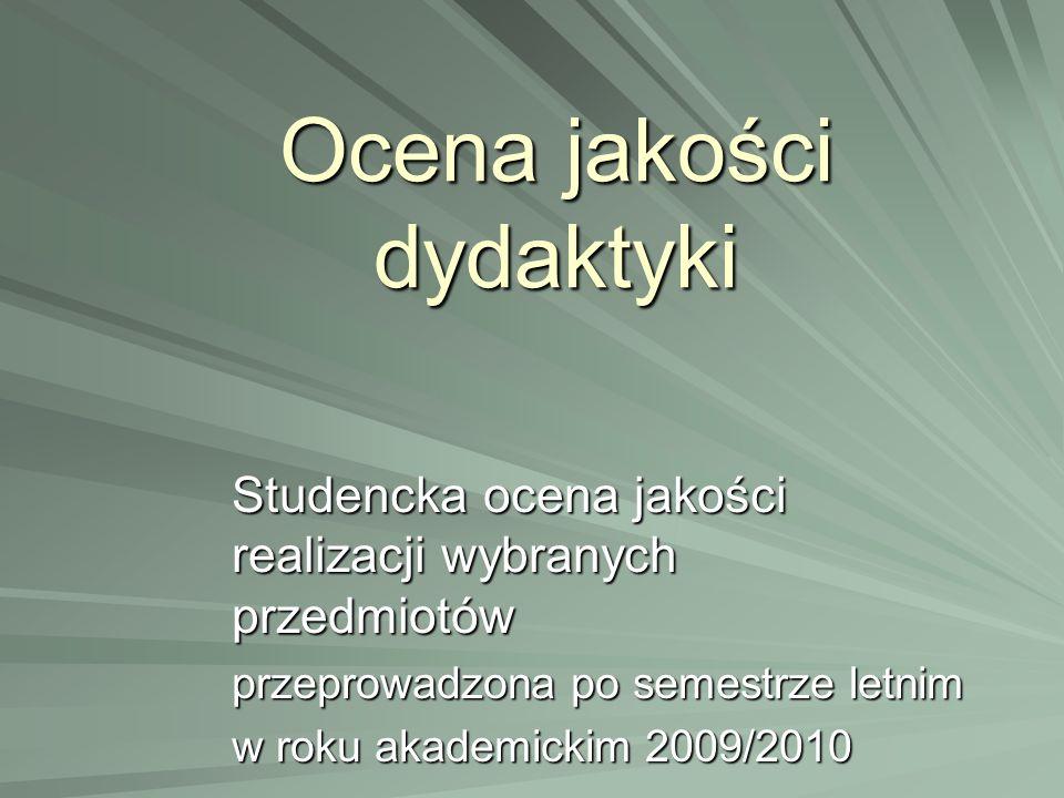 Ocena jakości dydaktyki Studencka ocena jakości realizacji wybranych przedmiotów przeprowadzona po semestrze letnim w roku akademickim 2009/2010