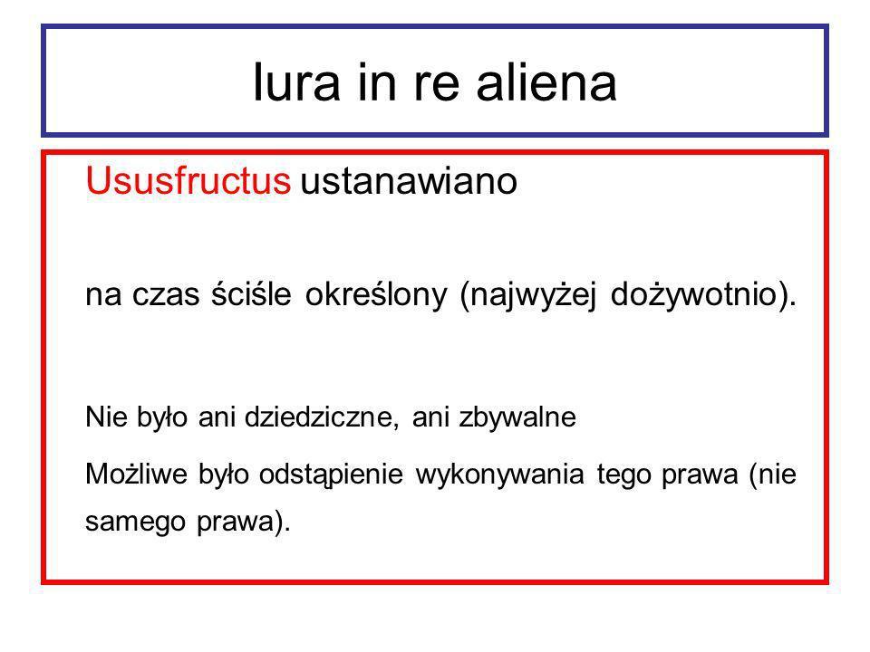 Iura in re aliena Usufructuarius był detentorem rzeczy.