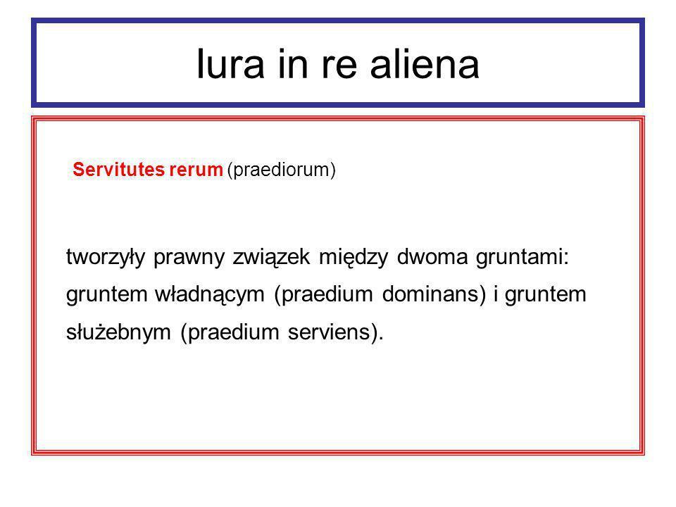 Iura in re aliena servitutes praediorum Każdoczesny właściciel gruntu władnącego mógł w ściśle określonym zakresie korzystać z gruntu służebnego (by zwiększyć użyteczność swego gruntu), a każdoczesny właściciel gruntu służebnego musiał to znosić (pati).
