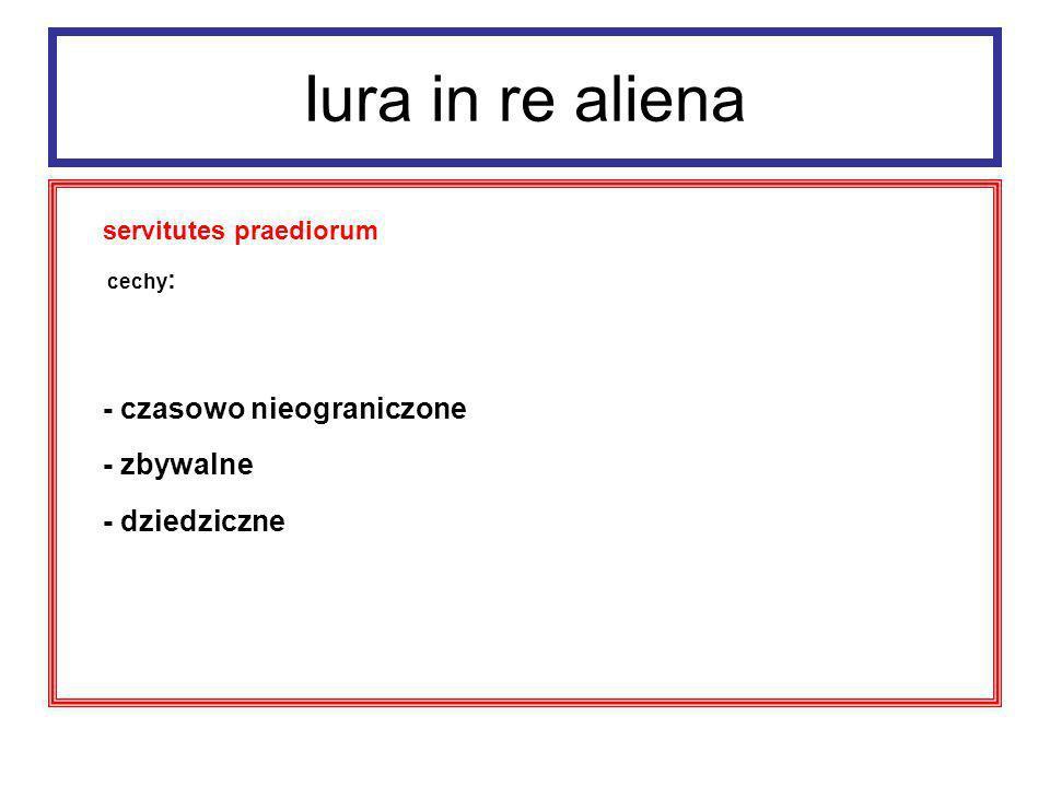 Iura in re aliena servitutes praediorum: - servitutes praediorum rusticorum - servitutes praediorum urbanorum