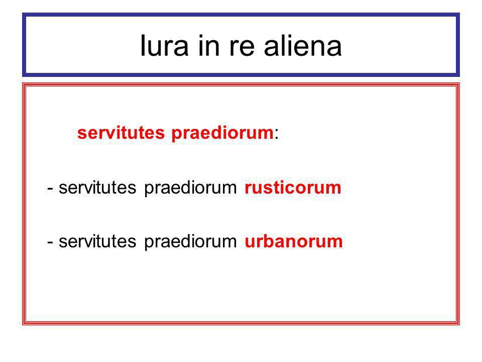 Iura in re aliena servitutes praediorum rusticorum 1) iura itinerum (iter, actus, via) 2) iura aquorum (s.