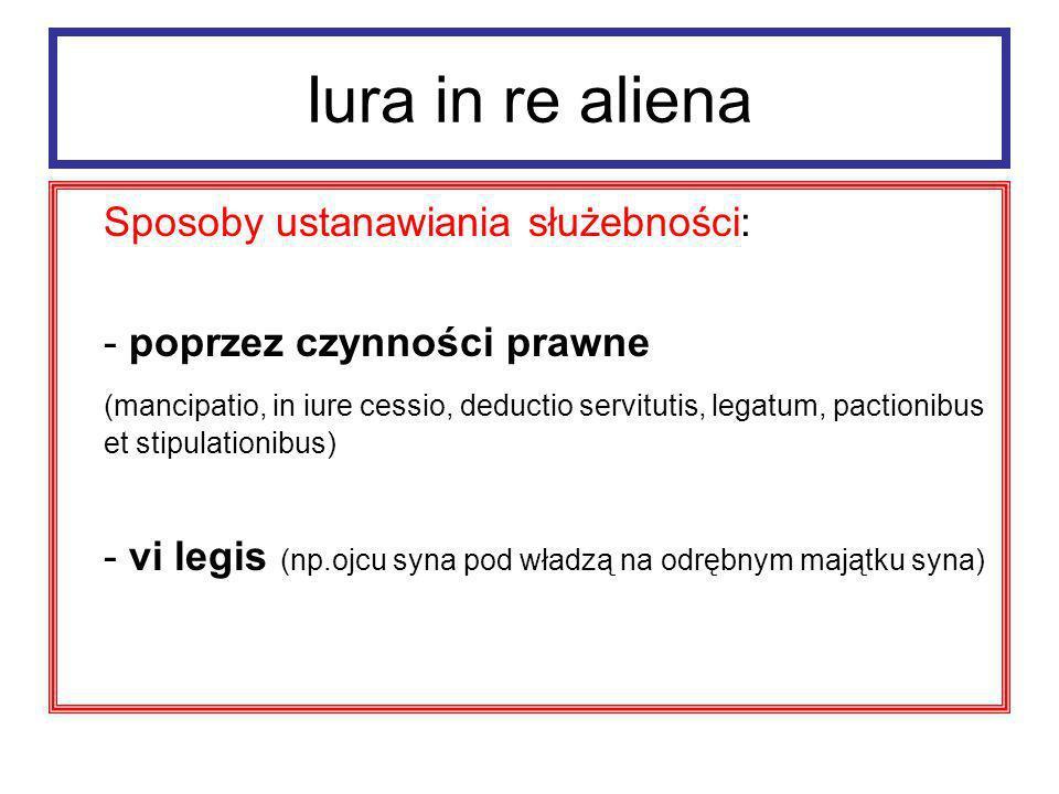 Iura in re aliena Zgaśnięcie służebności - zniszczenie rzeczy obciążonej - confusio - zrzeczenie się - non usus - śmierć uprawnionego (capitis deminutio)