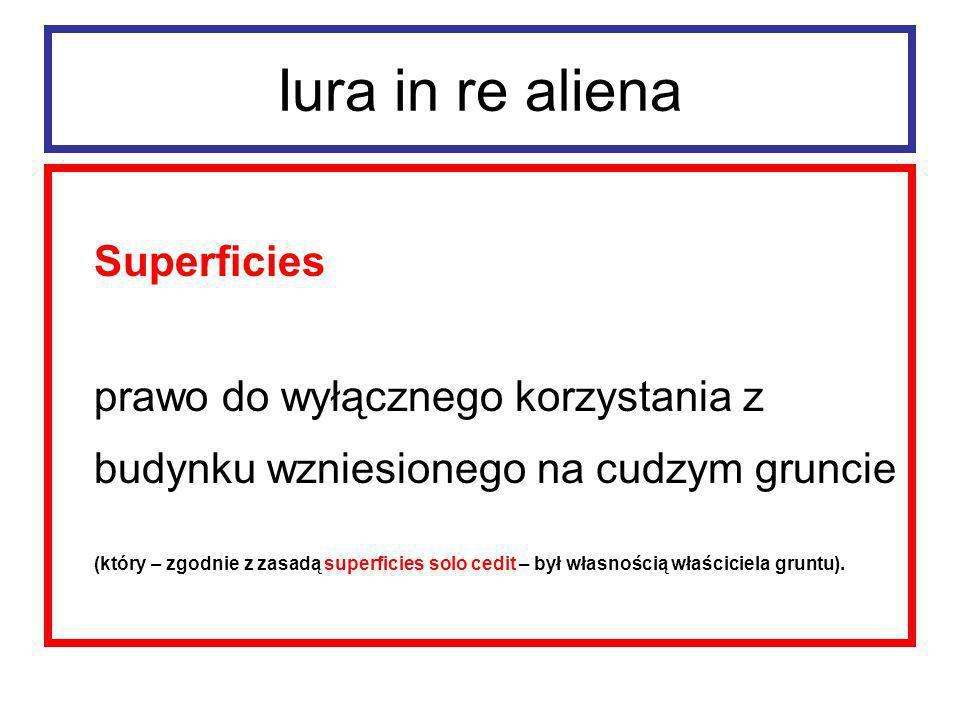 Iura in re aliena Superficiarius był detentorem budynku.