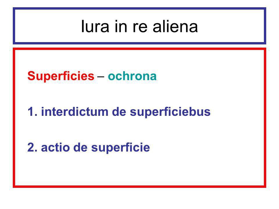 Iura in re aliena Okres poklasyczny (Epitome Gai) Ten, kto budował na cudzym gruncie za zgodą właściciela gruntu, uzyskiwał własność budynku.