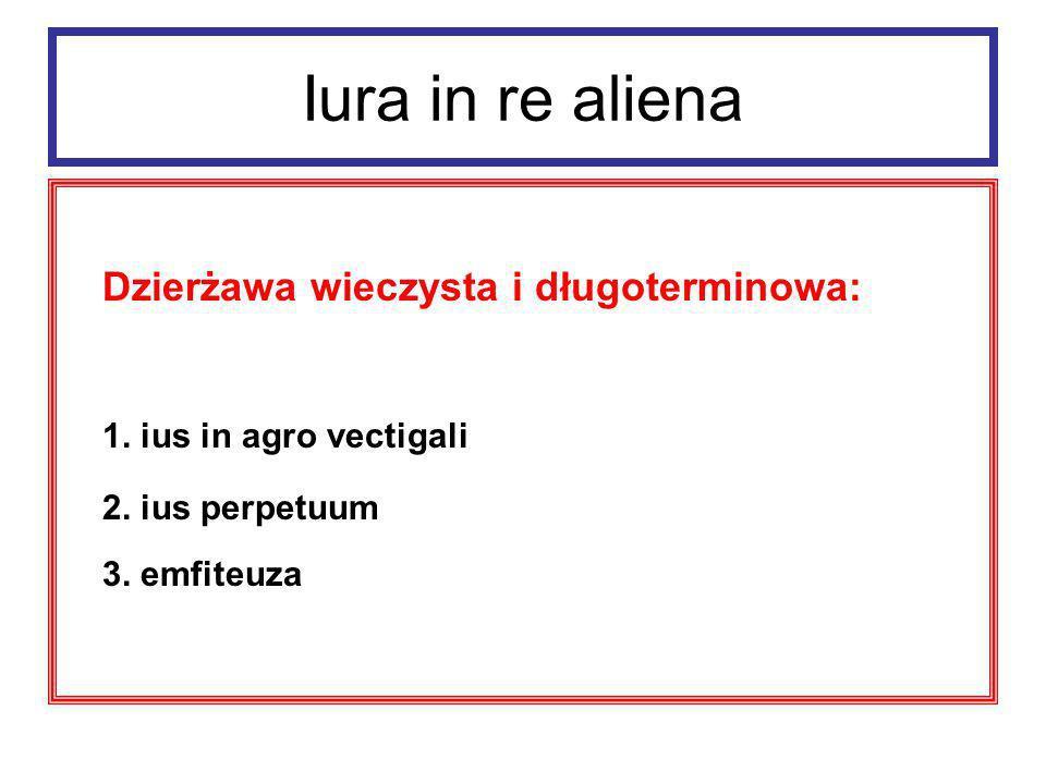 Iura in re aliena Ius in agro vectigali (dzierżawa długoterminowa) przedmiot – agri vectigales (trudne do uprawy grunty należące do państwa, municipiów i kolegiów)