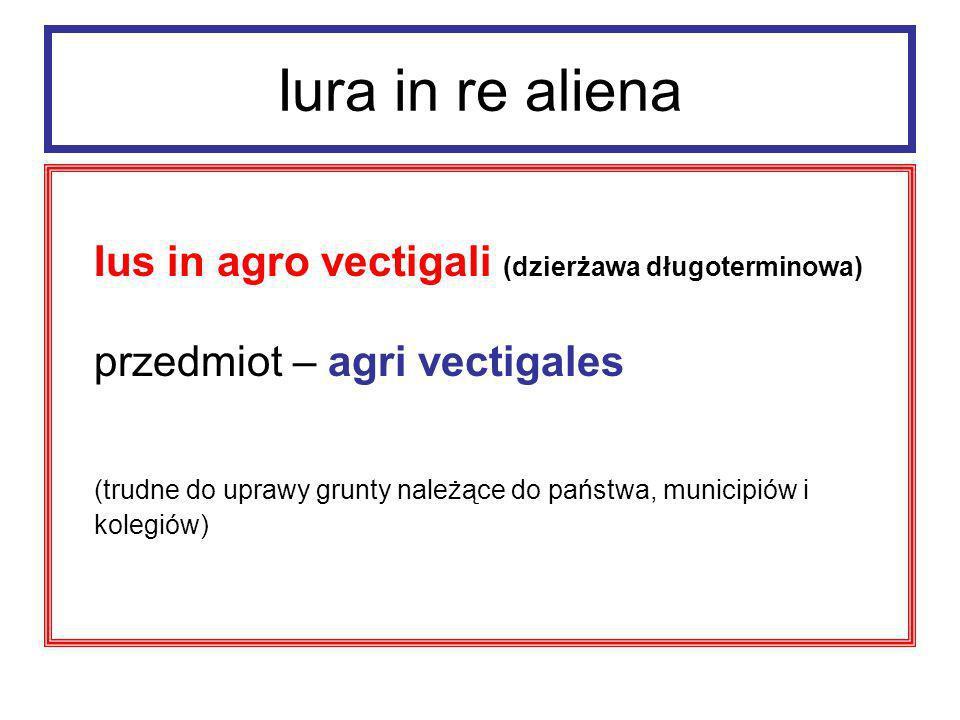 Iura in re aliena uprawniony – wektygalista mógł korzystać z gruntu i pobierać zeń pożytki w zamian za stały, płacony w odstępach rocznych, czynsz (vectigal).