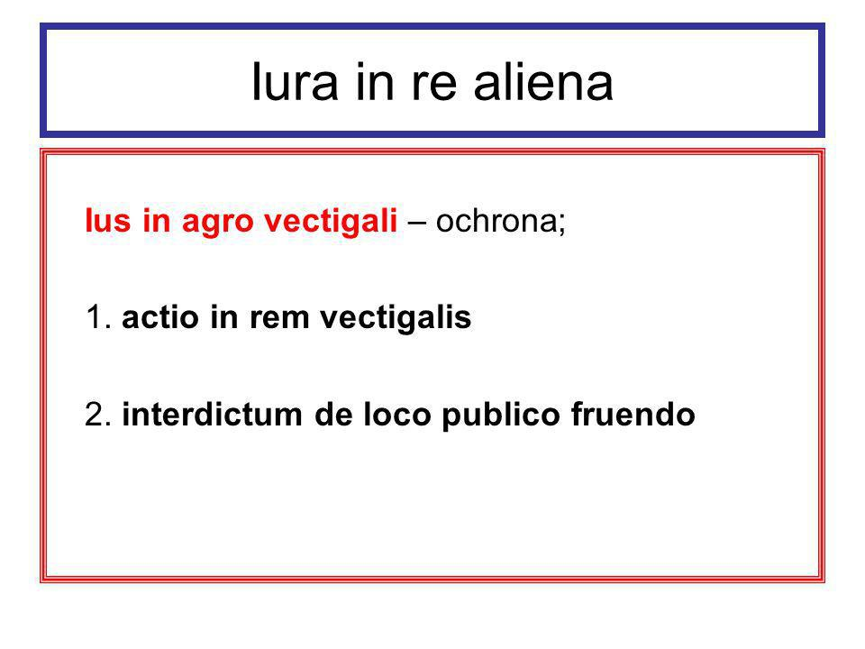 Iura in re aliena Ius perpetuum dzierżawa wieczysta,dziedziczna i zbywalna, której przedmiotem były fundi rei privatae (ziemie będące własnością korony cesarskiej) w zamian za stały roczny czynsz (vectigal)