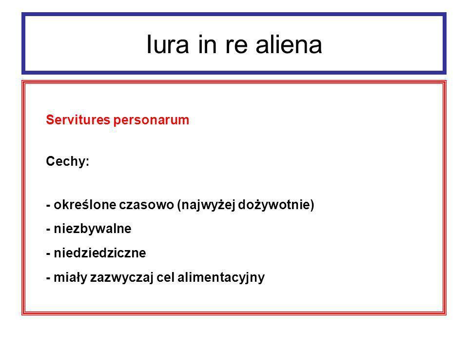 Iura in re aliena Servitutes personarum: 1.ususfructus 2.
