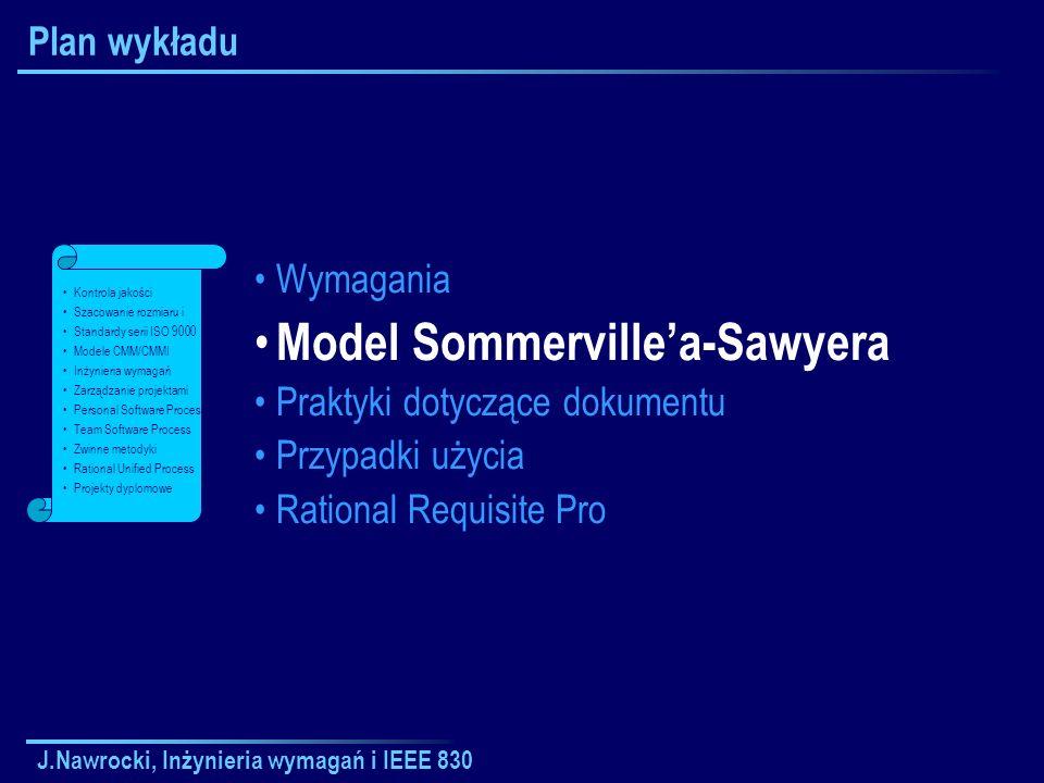 J.Nawrocki, Inżynieria wymagań i IEEE 830 Plan wykładu Wymagania Model Sommervillea-Sawyera Praktyki dotyczące dokumentu Przypadki użycia Rational Req