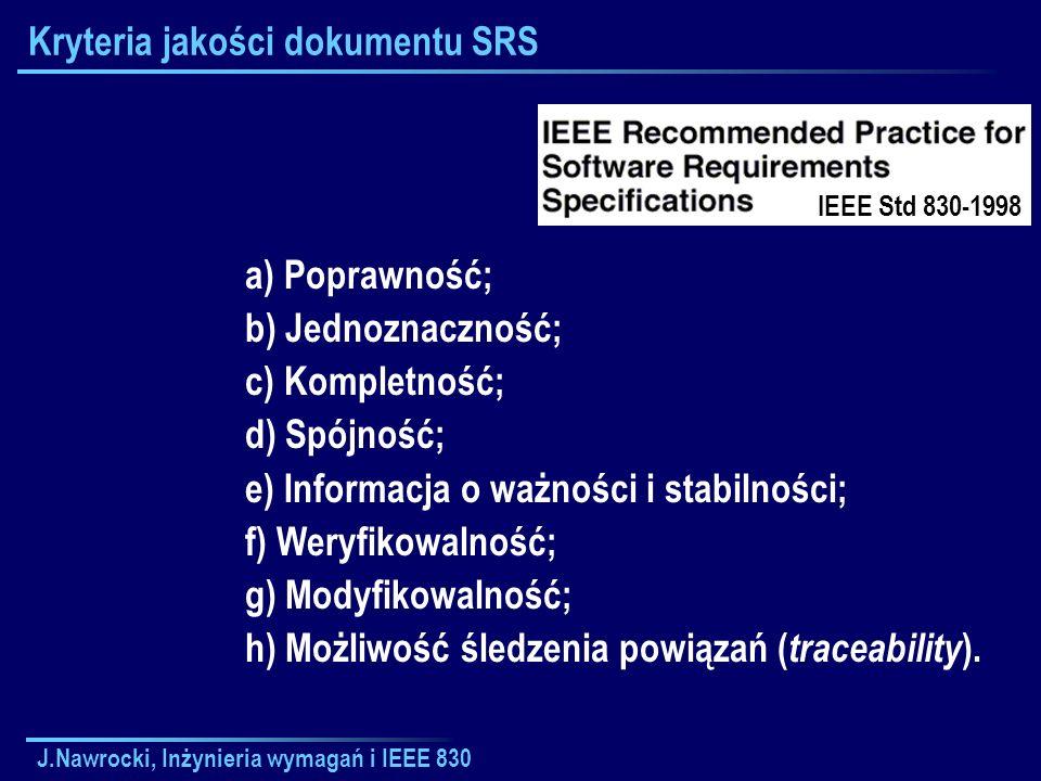 J.Nawrocki, Inżynieria wymagań i IEEE 830 Kryteria jakości dokumentu SRS a) Poprawność; b) Jednoznaczność; c) Kompletność; d) Spójność; e) Informacja