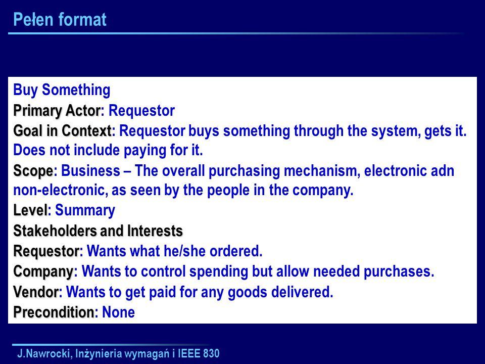 J.Nawrocki, Inżynieria wymagań i IEEE 830 Pełen format Buy Something Primary Actor Primary Actor: Requestor Goal in Context Goal in Context: Requestor