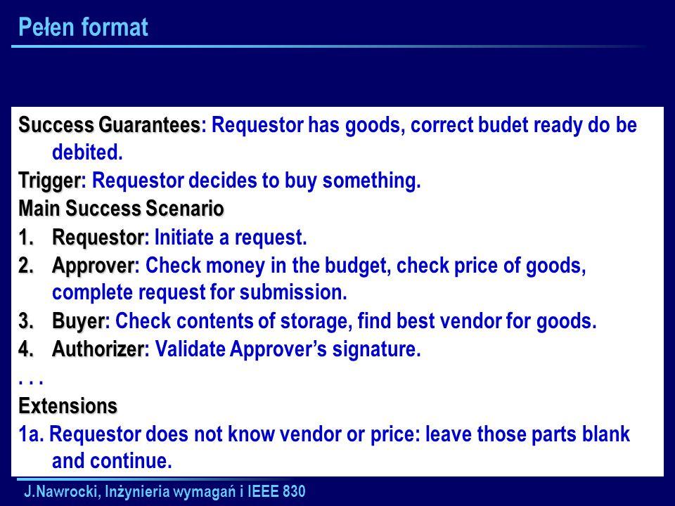 J.Nawrocki, Inżynieria wymagań i IEEE 830 Pełen format Success Guarantees Success Guarantees: Requestor has goods, correct budet ready do be debited.