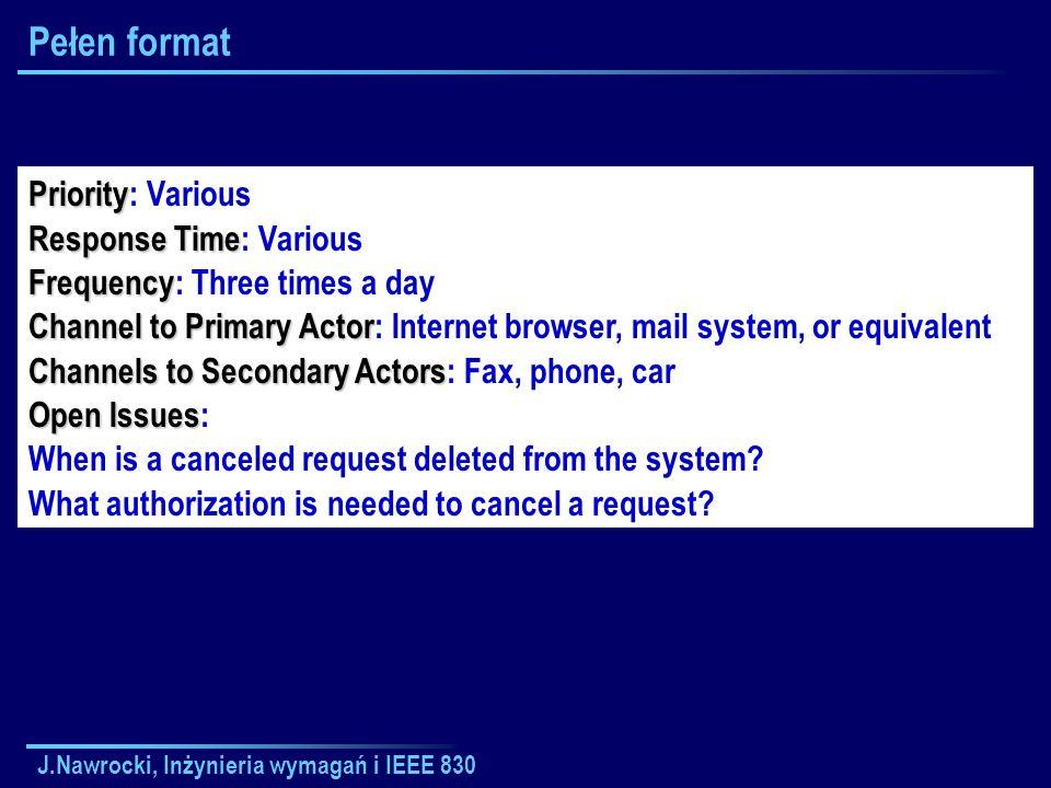 J.Nawrocki, Inżynieria wymagań i IEEE 830 Pełen format Priority Priority: Various Response Time Response Time: Various Frequency Frequency: Three time