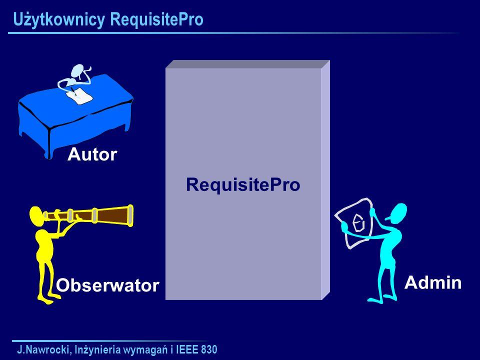 J.Nawrocki, Inżynieria wymagań i IEEE 830 Użytkownicy RequisitePro RequisitePro Autor Obserwator Admin