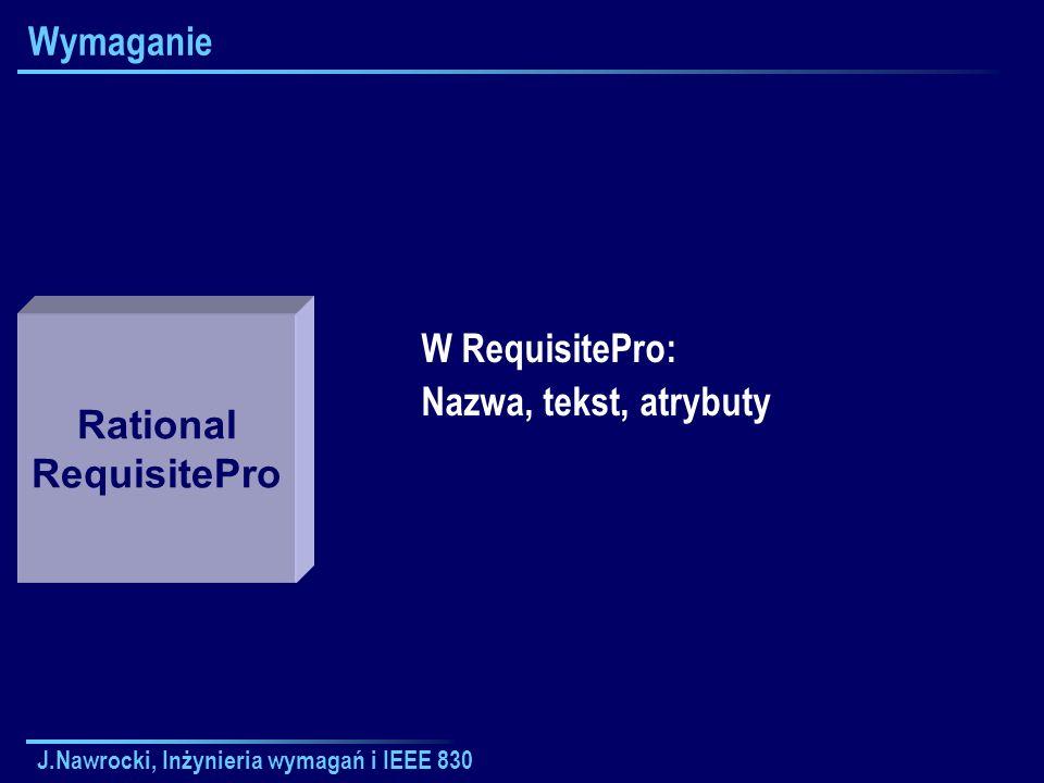 J.Nawrocki, Inżynieria wymagań i IEEE 830 Wymaganie W RequisitePro: Nazwa, tekst, atrybuty Rational RequisitePro