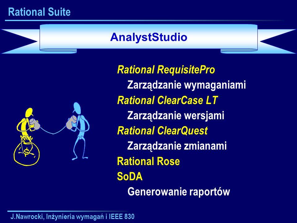 J.Nawrocki, Inżynieria wymagań i IEEE 830 Rational Suite Rational RequisitePro Zarządzanie wymaganiami Rational ClearCase LT Zarządzanie wersjami Rati
