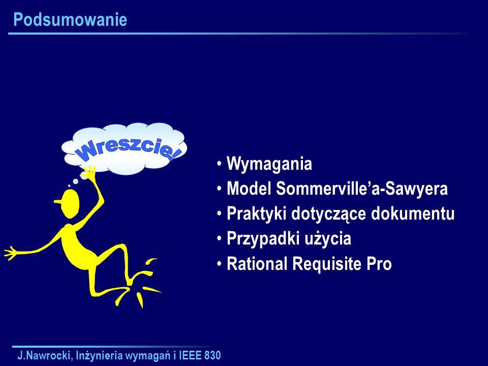 J.Nawrocki, Inżynieria wymagań i IEEE 830 Podsumowanie Wymagania Model Sommervillea-Sawyera Praktyki dotyczące dokumentu Przypadki użycia Rational Req
