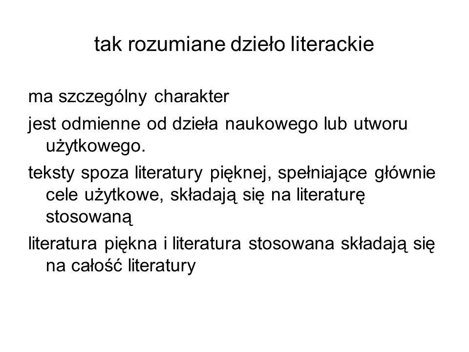 tak rozumiane dzieło literackie ma szczególny charakter jest odmienne od dzieła naukowego lub utworu użytkowego. teksty spoza literatury pięknej, speł