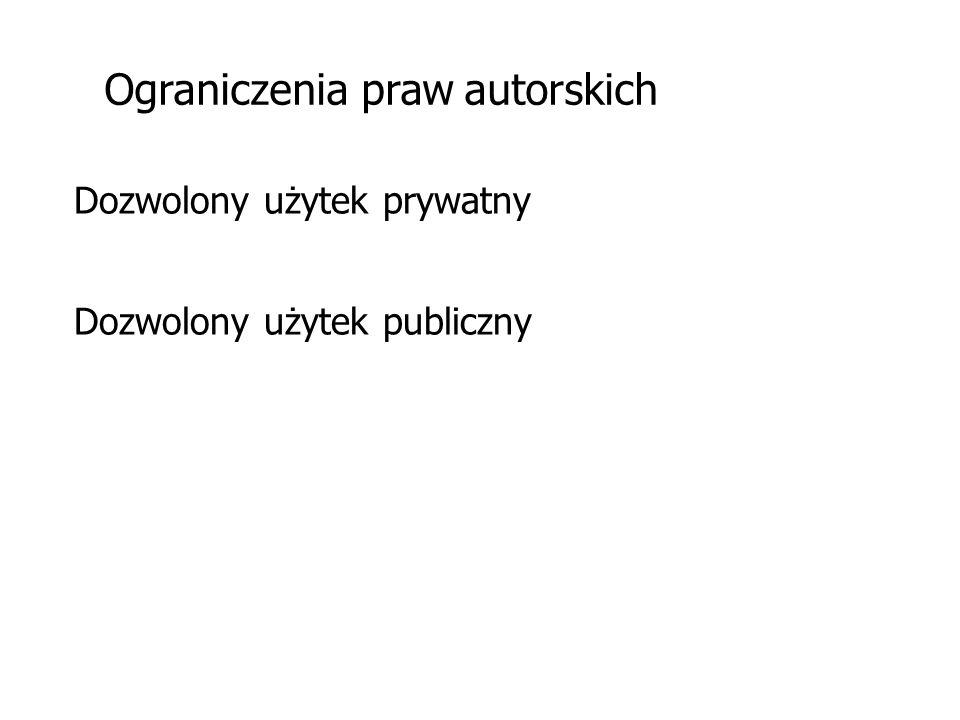 Ograniczenia praw autorskich Dozwolony użytek prywatny Dozwolony użytek publiczny
