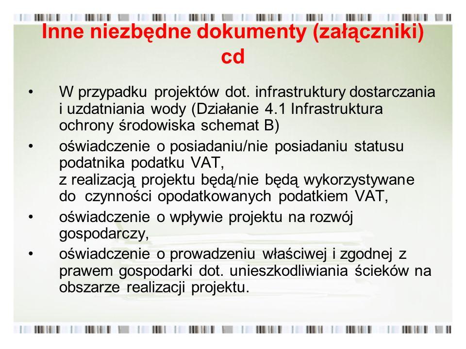 Inne niezbędne dokumenty (załączniki) cd W przypadku projektów dot. infrastruktury dostarczania i uzdatniania wody (Działanie 4.1 Infrastruktura ochro