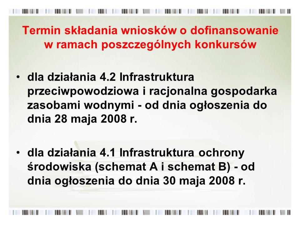 Termin składania wniosków o dofinansowanie w ramach poszczególnych konkursów dla działania 4.2 Infrastruktura przeciwpowodziowa i racjonalna gospodark