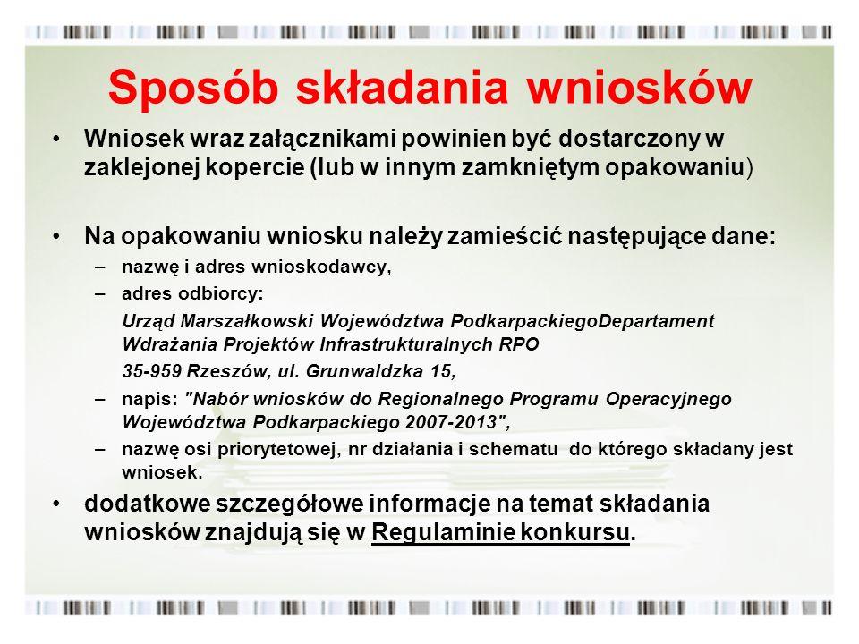 Sposób składania wniosków Wniosek wraz załącznikami powinien być dostarczony w zaklejonej kopercie (lub w innym zamkniętym opakowaniu) Na opakowaniu w