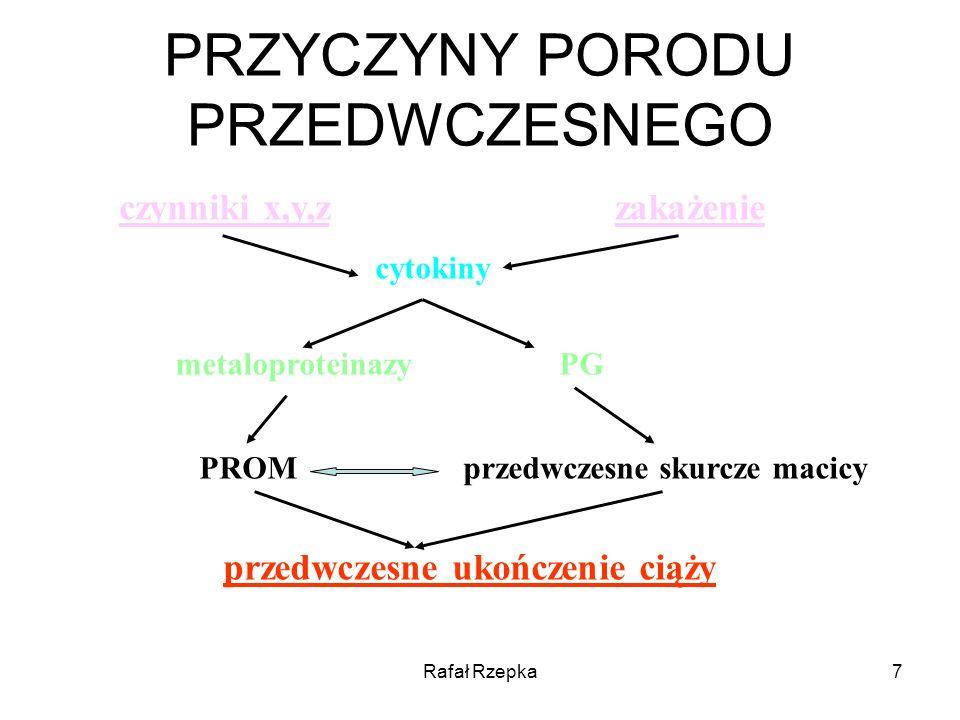 Rafał Rzepka8 MARKERY W PRZEWIDYWANIU WYSTĄPIENIA PORODU PRZEDWCZESNEGO Biochemiczne Enzymatyczne Hormonalne Hematologiczne Mikrobiologiczne Immunologiczne Molekularne Wskaźniki biochemiczne: Relaksyna, alfa-fetoproteina, prolaktyna, IGF, IL-6, IL-8, prokalcytonia Wydają się mało efektywne w przewidywaniu porodu przedwczesnego FIBRONEKTYNA PŁODOWA –Stężenie fibronektyny płodowej w wydzielinie pochwowo – szyjkowej u ciężarnych bez objawów porodu przedwczesnego koreluje z wystąpieniem czynności skurczowej we wczesnym bezobjawowym okresie Marianowski i wsp.