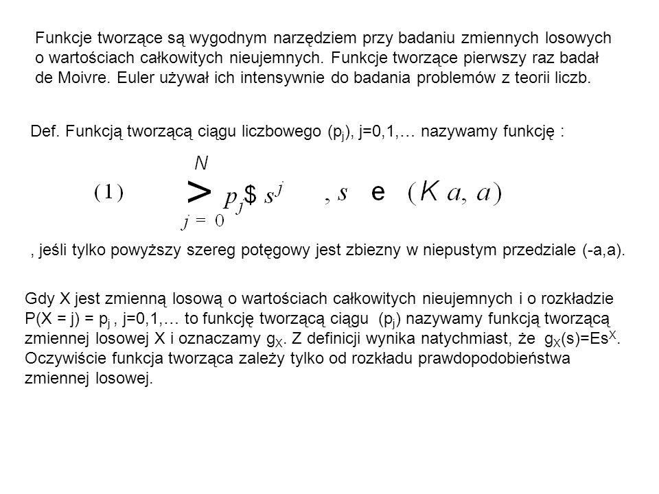 Funkcje tworzące są wygodnym narzędziem przy badaniu zmiennych losowych o wartościach całkowitych nieujemnych. Funkcje tworzące pierwszy raz badał de