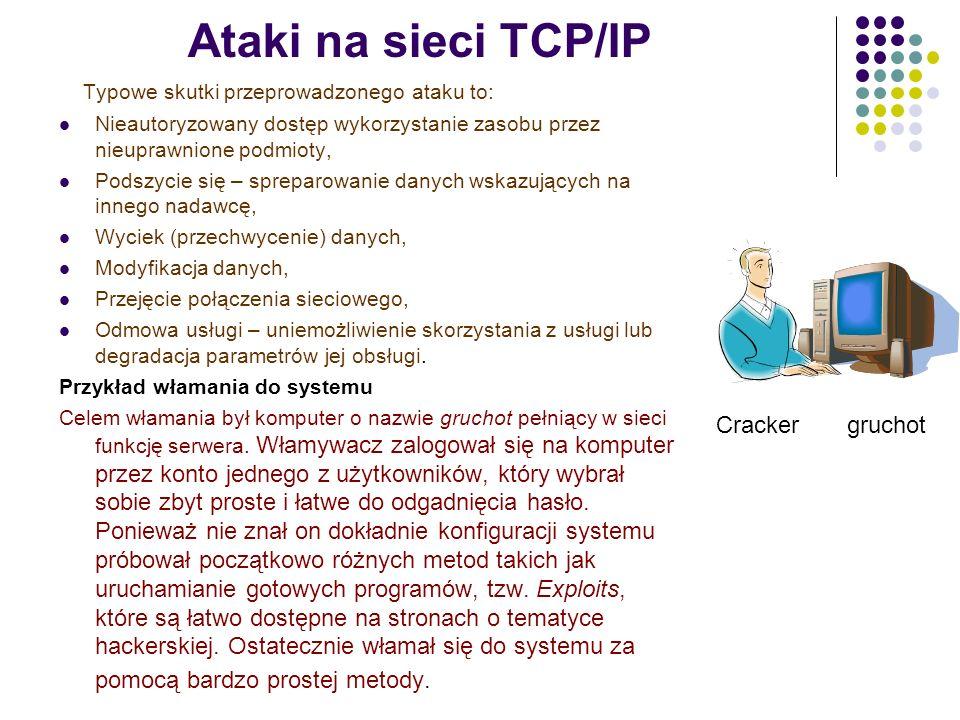 Ataki na sieci TCP/IP Typowe skutki przeprowadzonego ataku to: Nieautoryzowany dostęp wykorzystanie zasobu przez nieuprawnione podmioty, Podszycie się