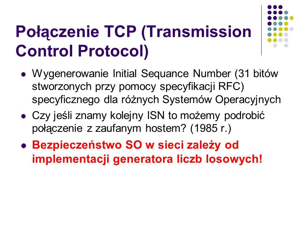 Połączenie TCP (Transmission Control Protocol) Wygenerowanie Initial Sequance Number (31 bitów stworzonych przy pomocy specyfikacji RFC) specyficznego