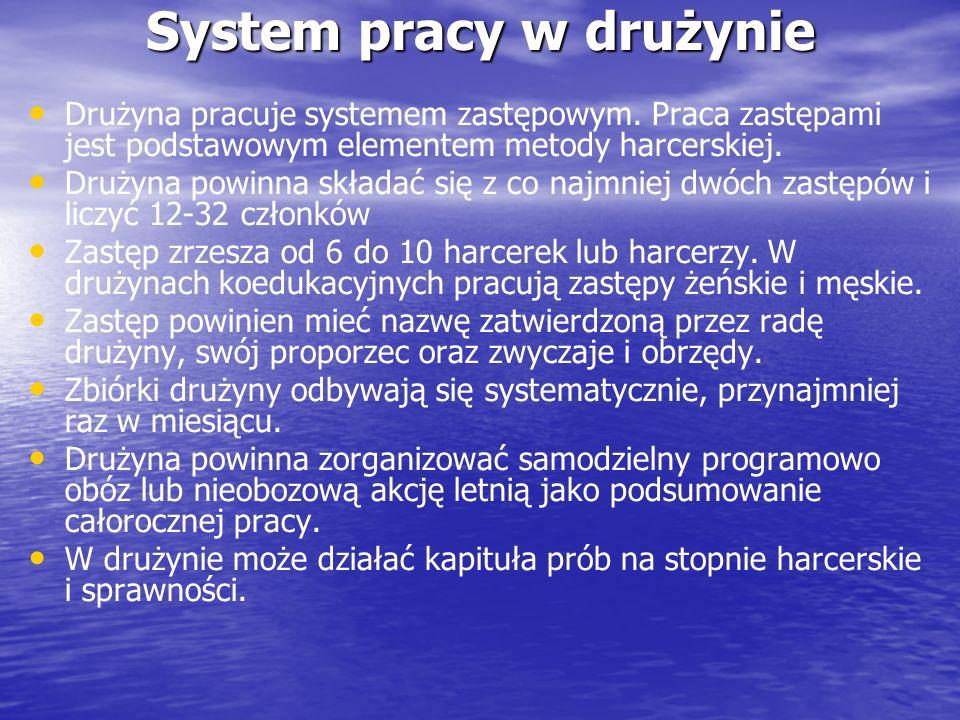 System pracy w drużynie Drużyna pracuje systemem zastępowym. Praca zastępami jest podstawowym elementem metody harcerskiej. Drużyna powinna składać si