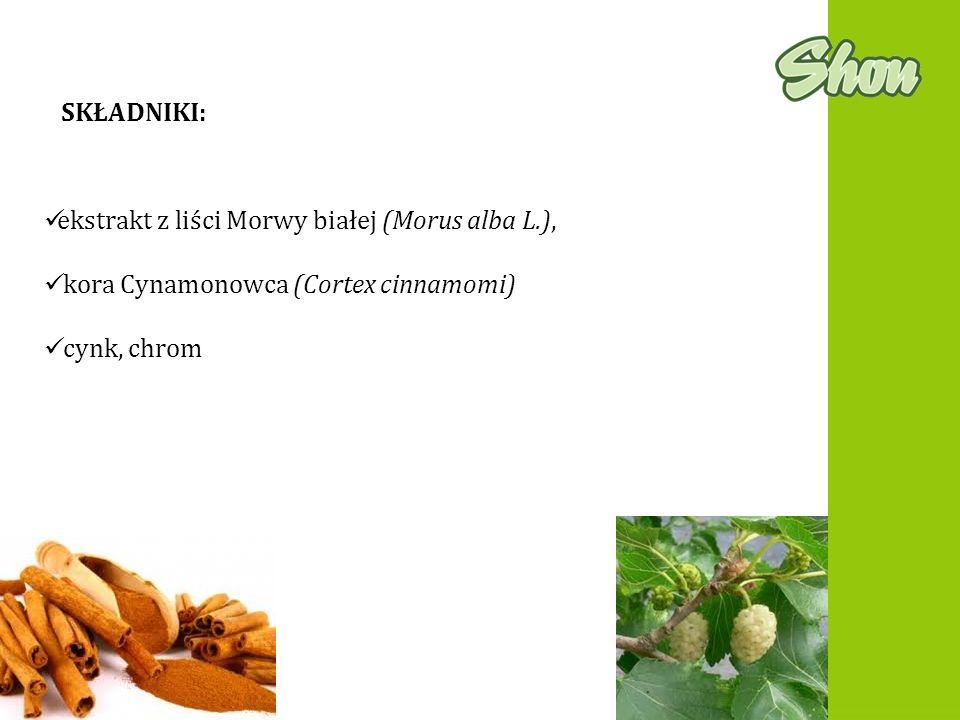 SKŁADNIKI: ekstrakt z liści Morwy białej (Morus alba L.), kora Cynamonowca (Cortex cinnamomi) cynk, chrom