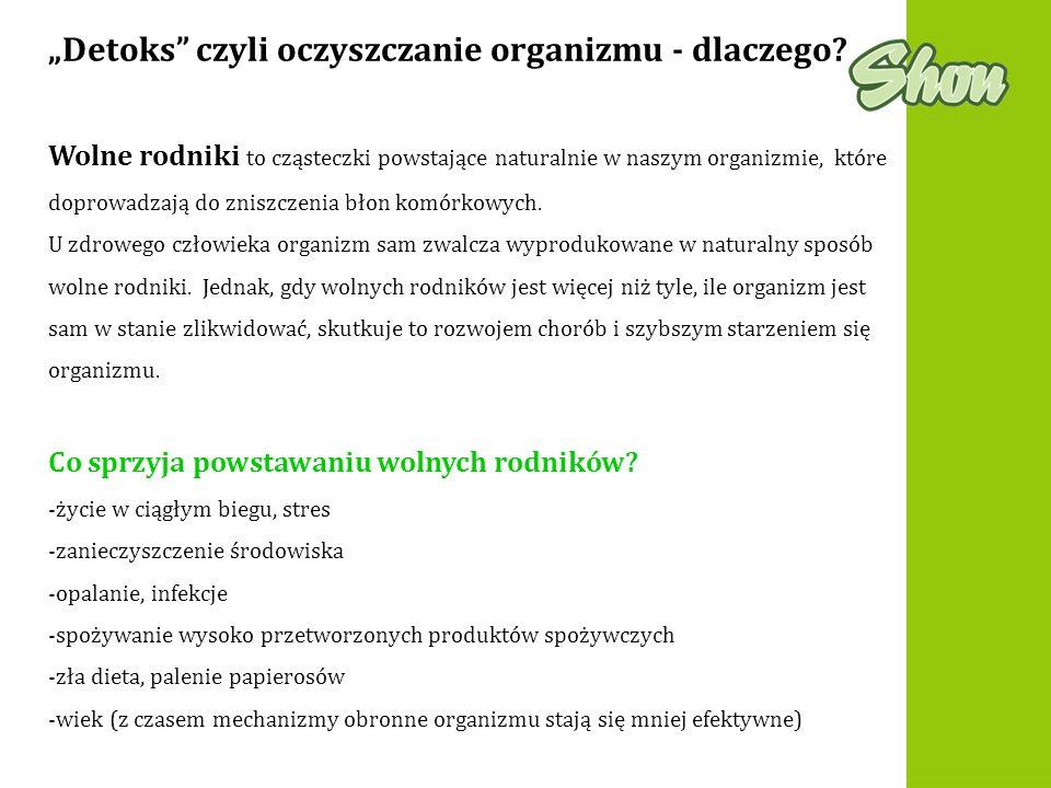 Detoks czyli oczyszczanie organizmu - dlaczego? Co sprzyja powstawaniu wolnych rodników? -życie w ciągłym biegu, stres -zanieczyszczenie środowiska -o