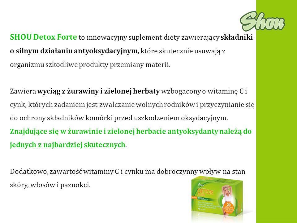 SHOU Detox Forte to innowacyjny suplement diety zawierający składniki o silnym działaniu antyoksydacyjnym, które skutecznie usuwają z organizmu szkodl