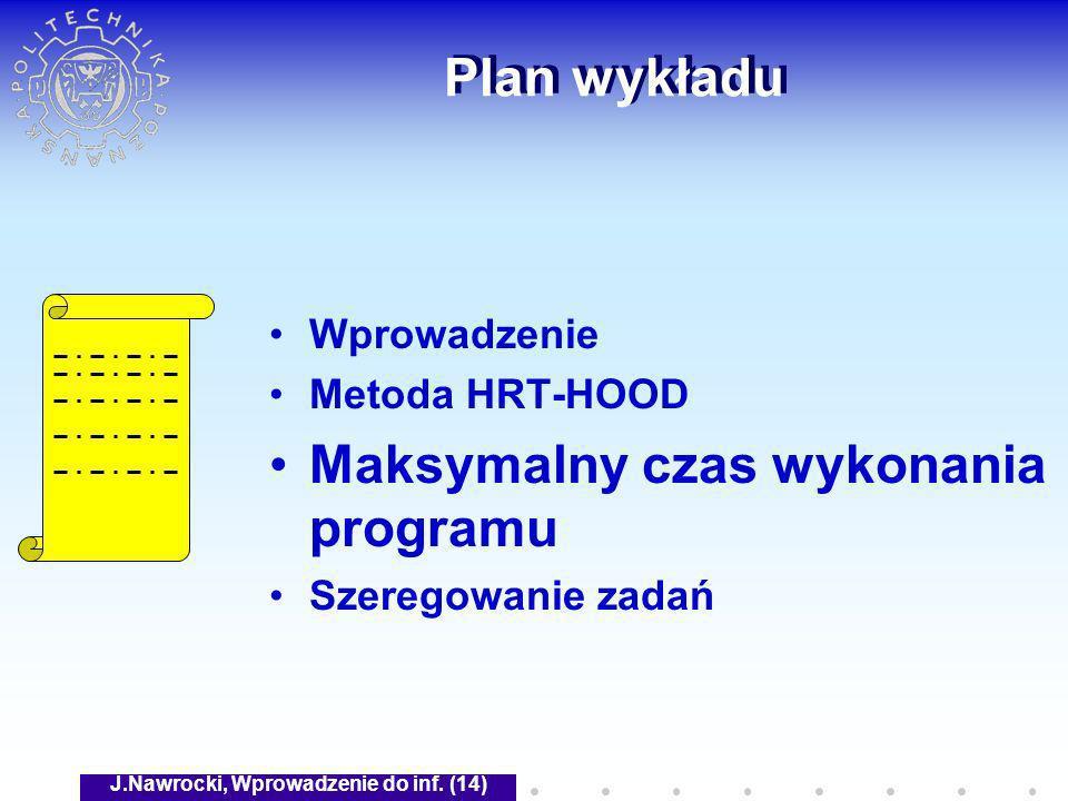 J.Nawrocki, Wprowadzenie do inf. (14) Plan wykładu Wprowadzenie Metoda HRT-HOOD Maksymalny czas wykonania programu Szeregowanie zadań