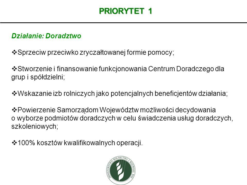 PRIORYTET 1 Działanie: Doradztwo Sprzeciw przeciwko zryczałtowanej formie pomocy; Stworzenie i finansowanie funkcjonowania Centrum Doradczego dla grup