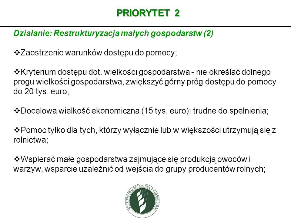 PRIORYTET 2 Działanie: Restrukturyzacja małych gospodarstw (2) Zaostrzenie warunków dostępu do pomocy; Kryterium dostępu dot. wielkości gospodarstwa -