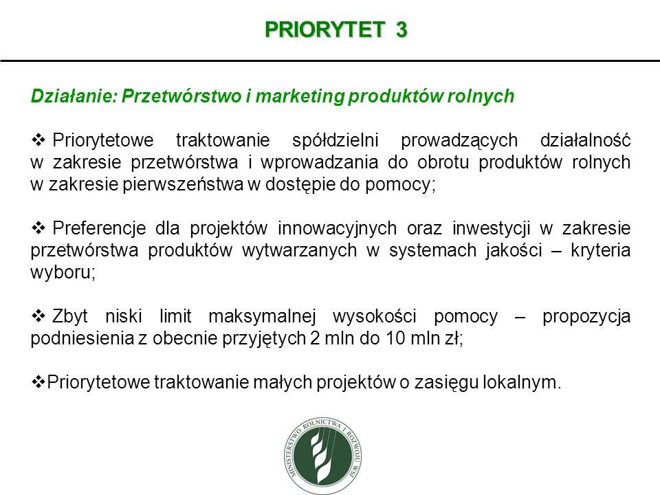 PRIORYTET 3 Działanie: Przetwórstwo i marketing produktów rolnych Priorytetowe traktowanie spółdzielni prowadzących działalność w zakresie przetwórstw