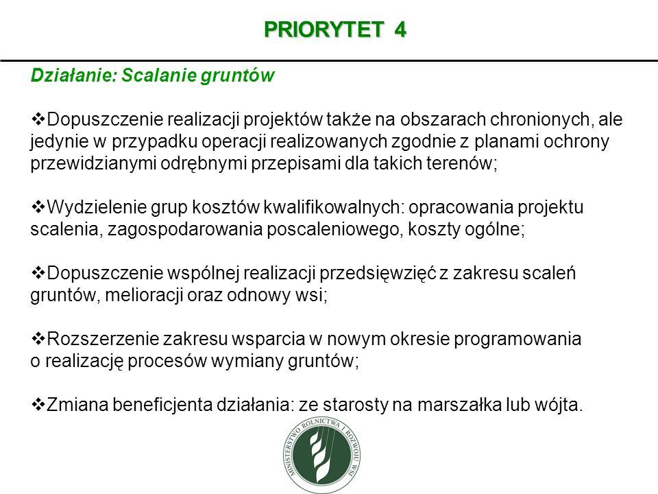 PRIORYTET 4 Działanie: Scalanie gruntów Dopuszczenie realizacji projektów także na obszarach chronionych, ale jedynie w przypadku operacji realizowany