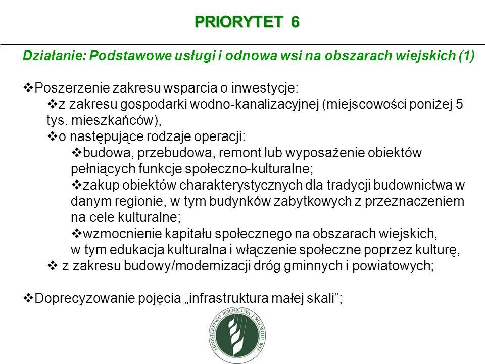 PRIORYTET 6 Działanie: Podstawowe usługi i odnowa wsi na obszarach wiejskich (1) Poszerzenie zakresu wsparcia o inwestycje: z zakresu gospodarki wodno
