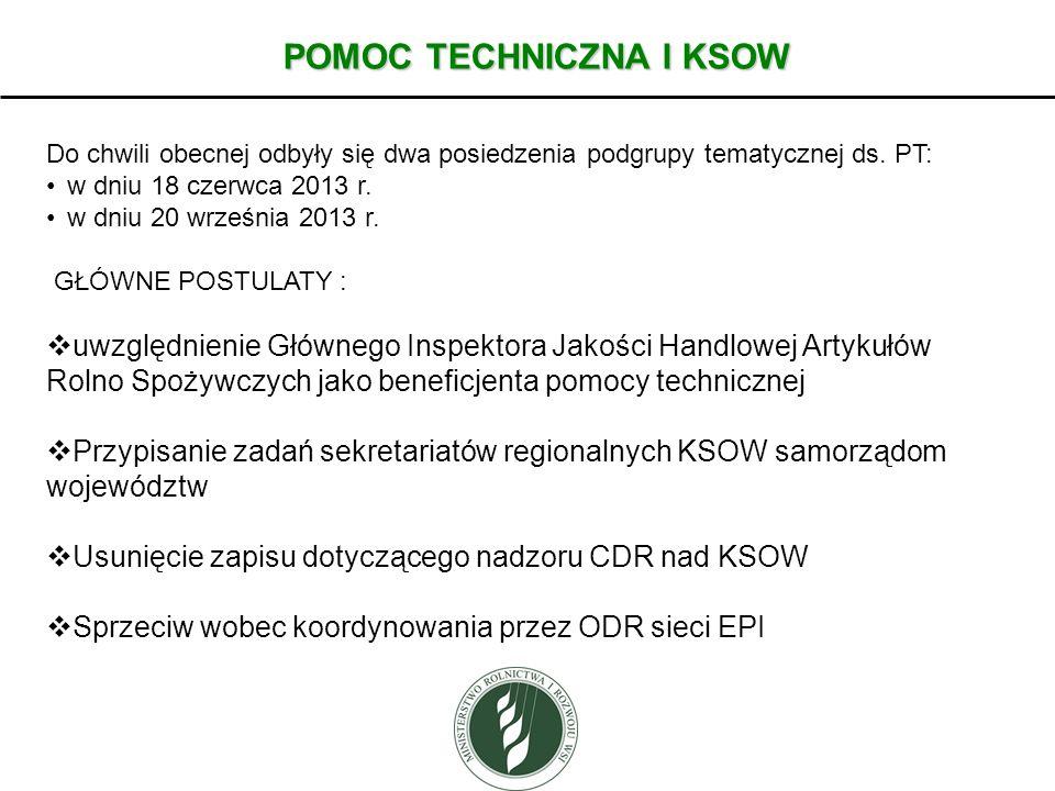 POMOC TECHNICZNA I KSOW Do chwili obecnej odbyły się dwa posiedzenia podgrupy tematycznej ds. PT: w dniu 18 czerwca 2013 r. w dniu 20 września 2013 r.