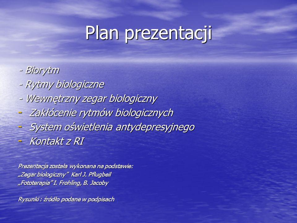 Plan prezentacji - Biorytm - Rytmy biologiczne - Wewnętrzny zegar biologiczny - Zakłócenie rytmów biologicznych - System oświetlenia antydepresyjnego