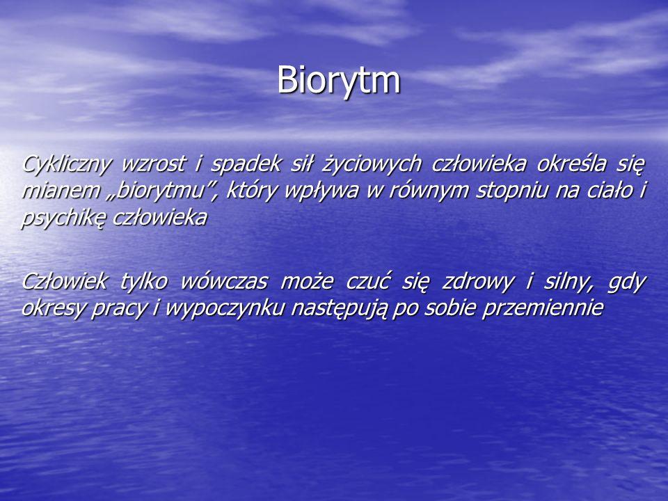 Rytmy biologiczne mają zróżnicowany czas trwania Rozróżnia się rytmy : - dobowy - tygodniowy - miesięczny - roczny - dwudziestogodzinny źródło: www.surrey.ac.uk