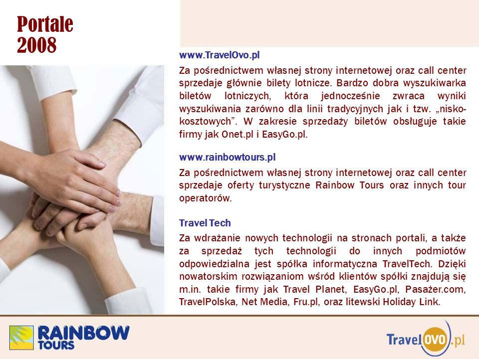 Portale 2008 www.TravelOvo.pl Za pośrednictwem własnej strony internetowej oraz call center sprzedaje głównie bilety lotnicze. Bardzo dobra wyszukiwar