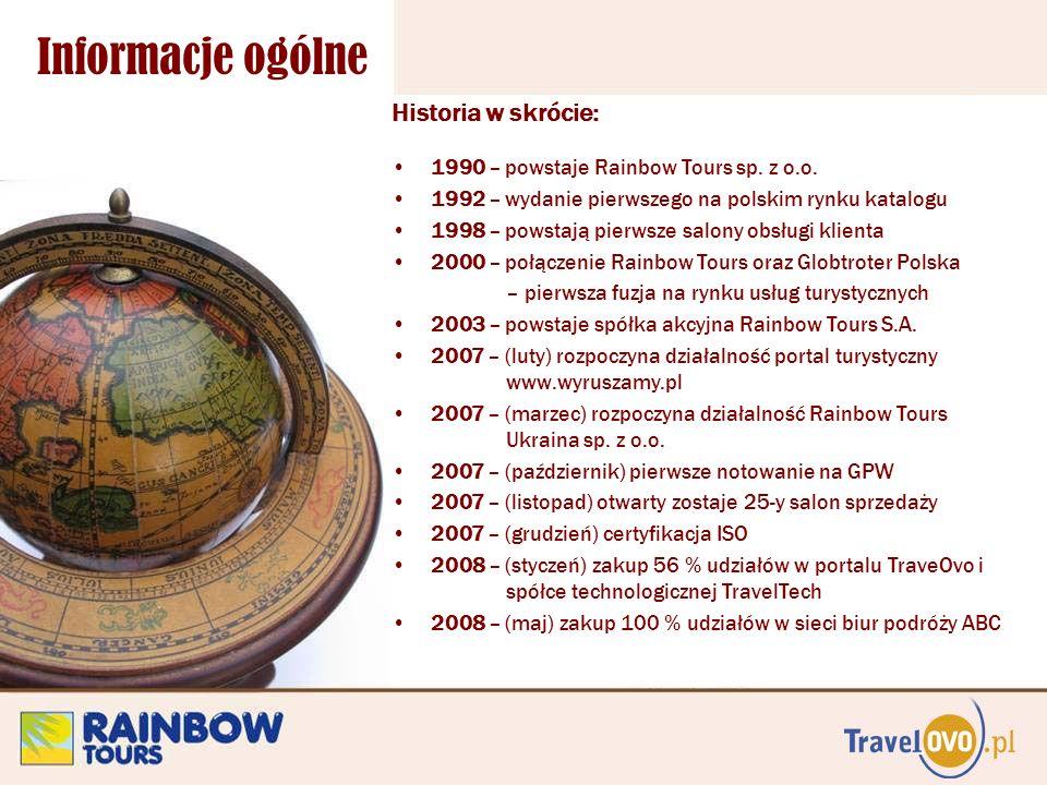 Informacje ogólne Historia w skrócie: 1990 – powstaje Rainbow Tours sp. z o.o. 1992 – wydanie pierwszego na polskim rynku katalogu 1998 – powstają pie