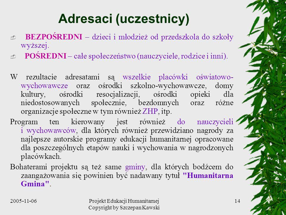 2005-11-06Projekt Edukacji Humanitarnej Copyright by Szczepan Kawski 14 Adresaci (uczestnicy) BEZPOŚREDNI – dzieci i młodzież od przedszkola do szkoły wyższej.