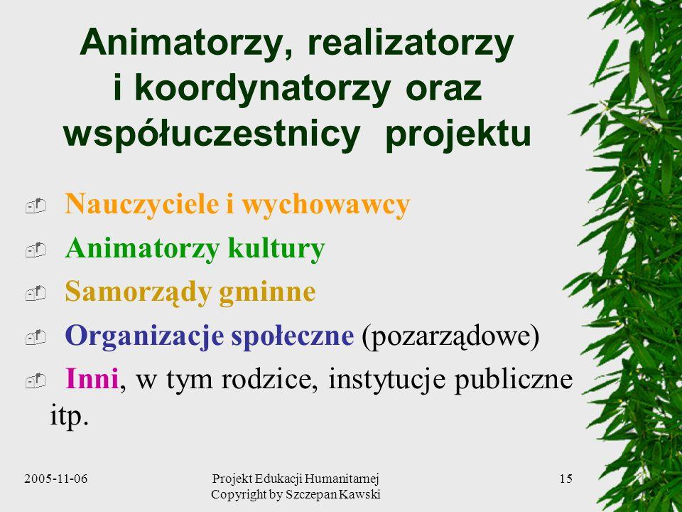 2005-11-06Projekt Edukacji Humanitarnej Copyright by Szczepan Kawski 15 Animatorzy, realizatorzy i koordynatorzy oraz współuczestnicy projektu Nauczyciele i wychowawcy Animatorzy kultury Samorządy gminne Organizacje społeczne (pozarządowe) Inni, w tym rodzice, instytucje publiczne itp.