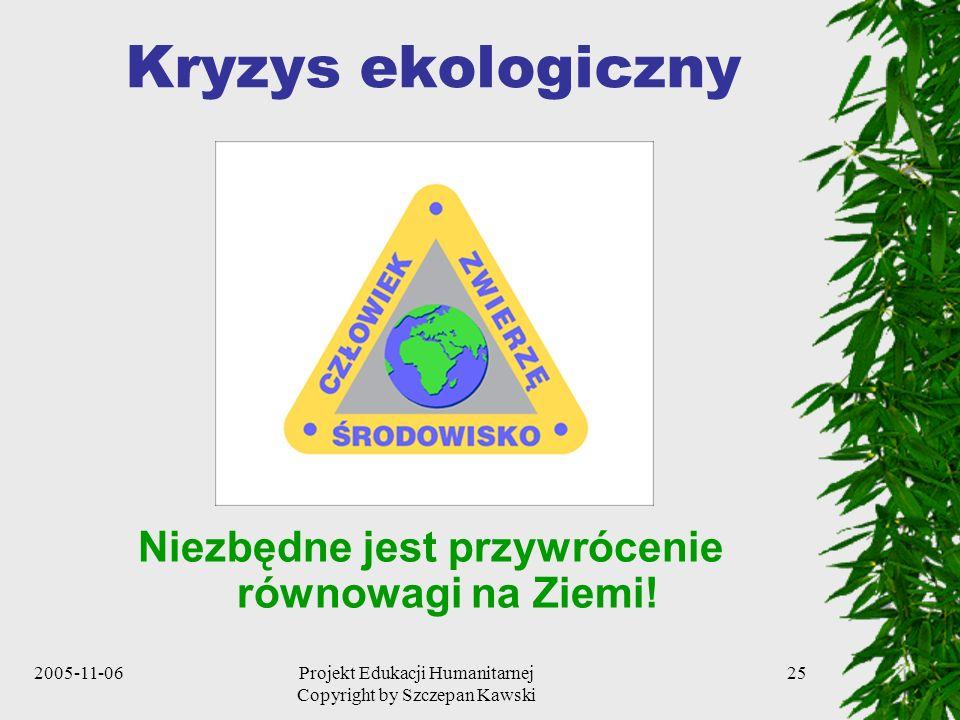 2005-11-06Projekt Edukacji Humanitarnej Copyright by Szczepan Kawski 25 Kryzys ekologiczny Niezbędne jest przywrócenie równowagi na Ziemi!